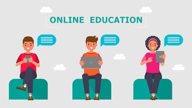 Персонаж из мультфильма мальчик и девочка учащиеся концепции обучения в режиме онлайн. обучение информационным технологиям на расстоянии.