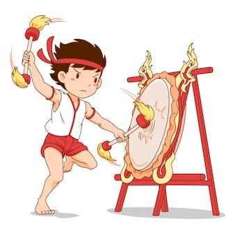 Cartoon character of boy beating thai northern drum.