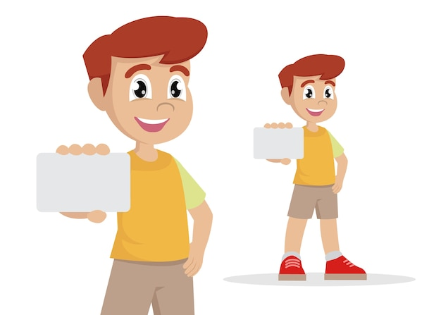 Cartoon character, boy holding card., vector eps10