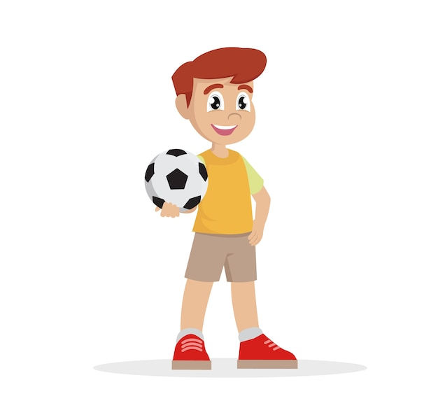 Cartoon character, boy holds the ball in his hand.,vector eps10