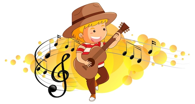 Cartoon character of a boy playing guitar on melody symbols background