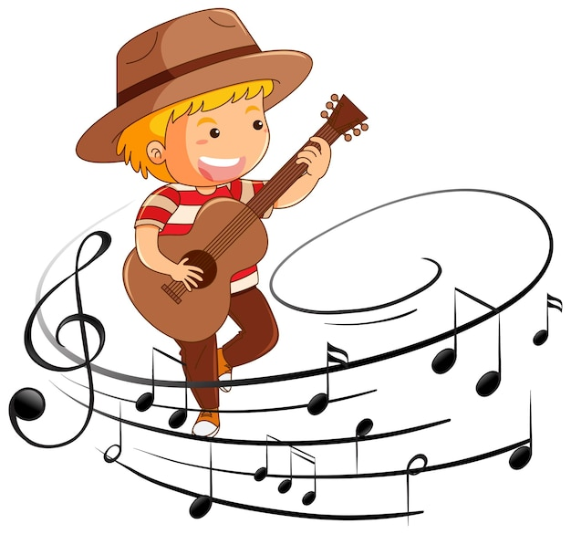 Cartoon character of a boy playing guitar with melody symbols