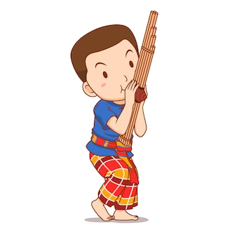 Cartoon character of boy playing khaen instrument.