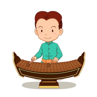 Cartoon character of boy playing ranad. thai musical instrument in the percussion family.