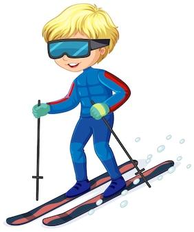 Personaggio dei cartoni animati di un ragazzo che guida gli sci su bianco