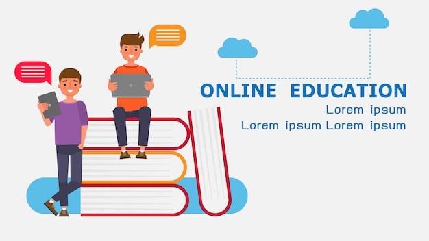 Персонаж из мультфильма мальчик-студент концепции обучения в режиме онлайн. иллюстрация по информационным технологиям для дистанционного обучения обучение в интернете учиться дома с эпидемической ситуацией содержание.