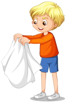 Cartoon character of a boy taking coat off