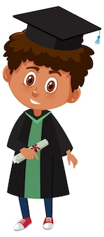Cartoon character of a boy wearing graduation costume