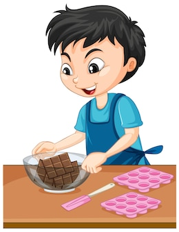 Cartoon character of a boy with baking equipments