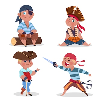 Cartoon character boys pirates on white