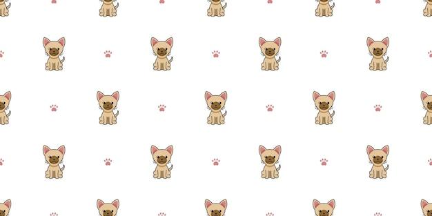 Мультипликационный персонаж коричневый кот бесшовный фон фон