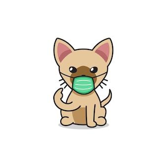 Коричневый кот из мультфильма в защитной маске для дизайна.