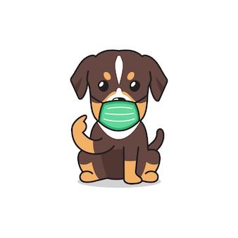 Cartoon character brown dog wearing protective face mask