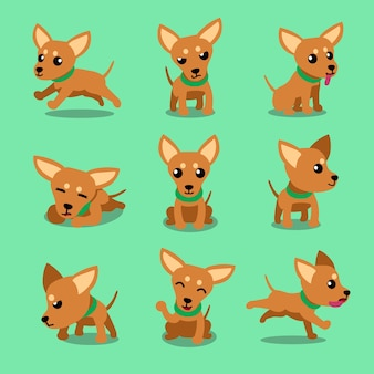 Cartoon character brown toy terrier dog poses