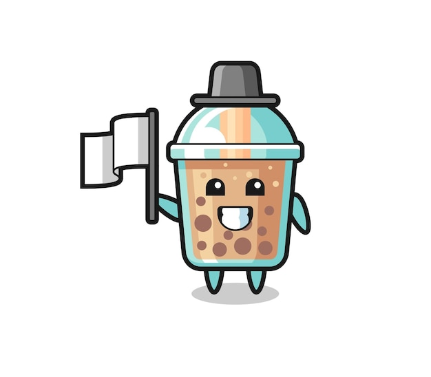 Cartoon character of bubble tea holding a flag , cute style design for t shirt, sticker, logo element