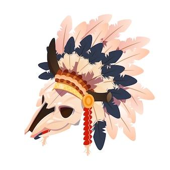 白い背景に分離されたインドの羽頭飾りと漫画キャラクターバッファローの頭蓋骨