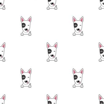 Cartoon character bull terrier dog seamless pattern background