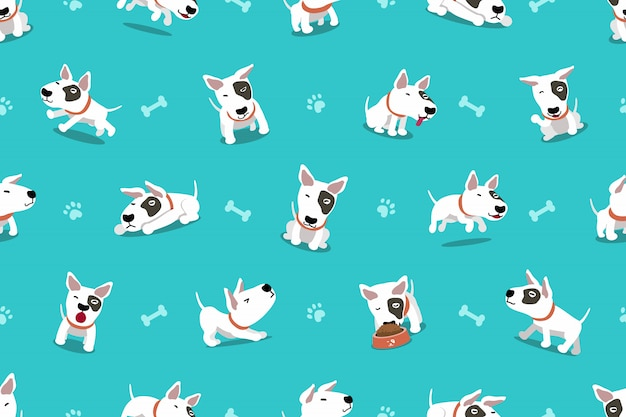 Cartoon character bull terrier dog seamless pattern