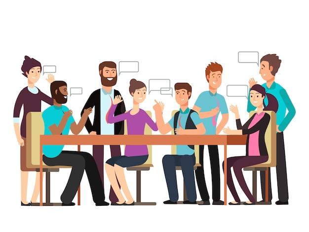 만화 캐릭터 비즈니스 팀은 대화가 있습니다. 아침 회의에서 여자와 남자