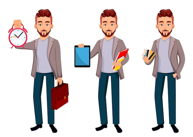 Cartoon character businessman in casual clothes