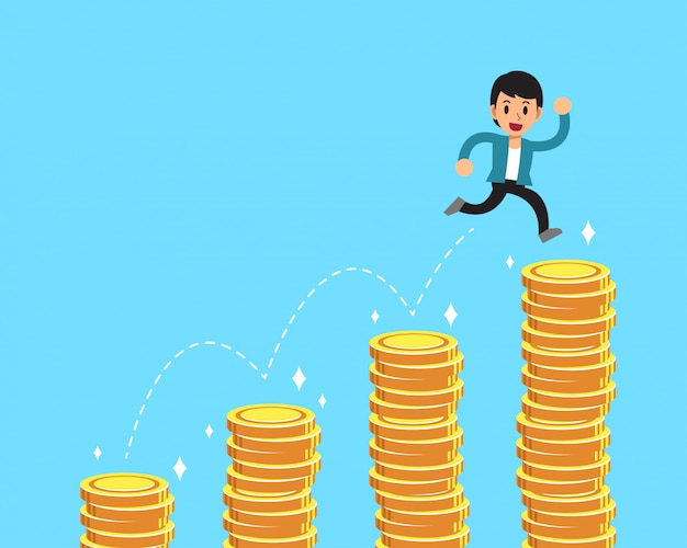 Cartoon character businessman jumping over money stacks