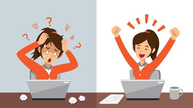 Мультипликационный персонаж бизнесвумен, выражающий разные эмоции