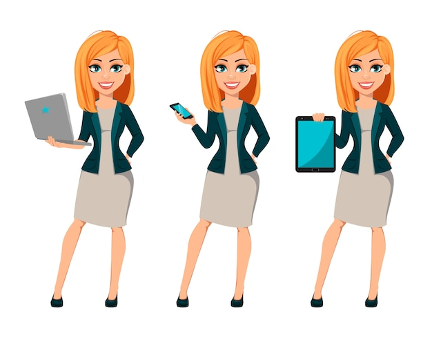 Cartoon character businesswoman with blonde hair