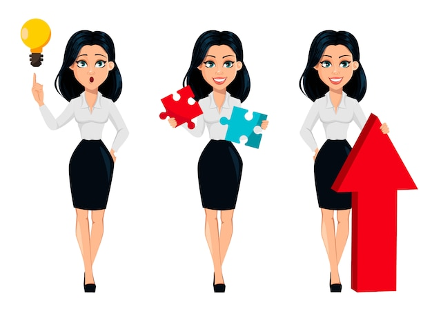 Cartoon character businesswoman