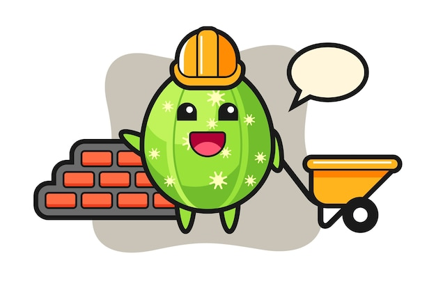 Cartoon character of cactus as a builder
