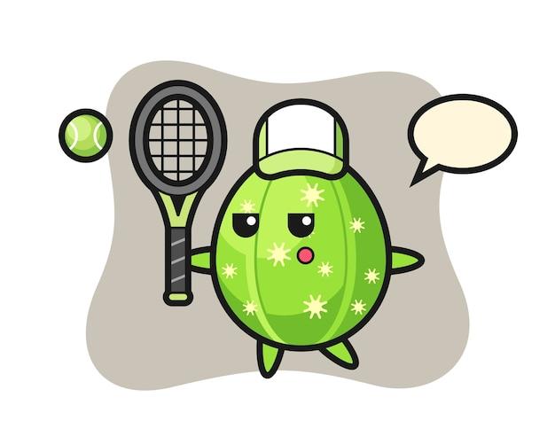 Cartoon character of cactus as a tennis player