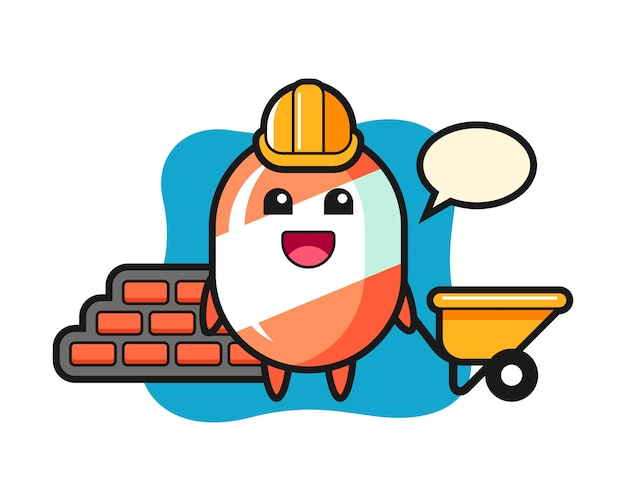 Cartoon character of candy as a builder