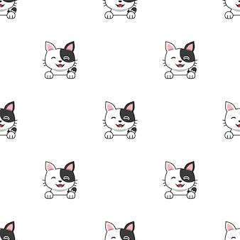 Мультяшный персонаж кошка бесшовный фон фон
