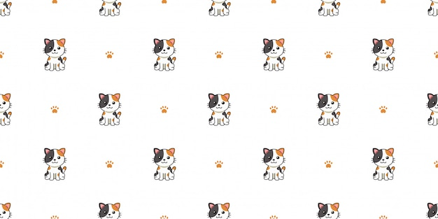 Мультфильм характер кота бесшовный фон фон