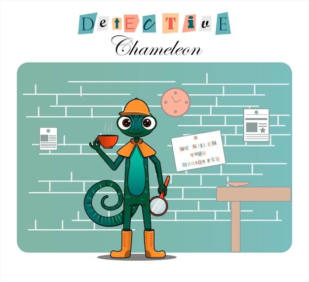 Cartoon character chameleondetective flat illustration for children books