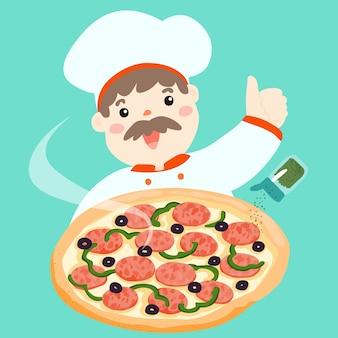 Шеф-повар мультфильма с горячей пиццей