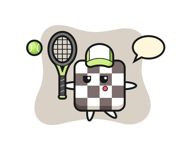 Cartoon character of chess board as a tennis player , cute style design for t shirt, sticker, logo element