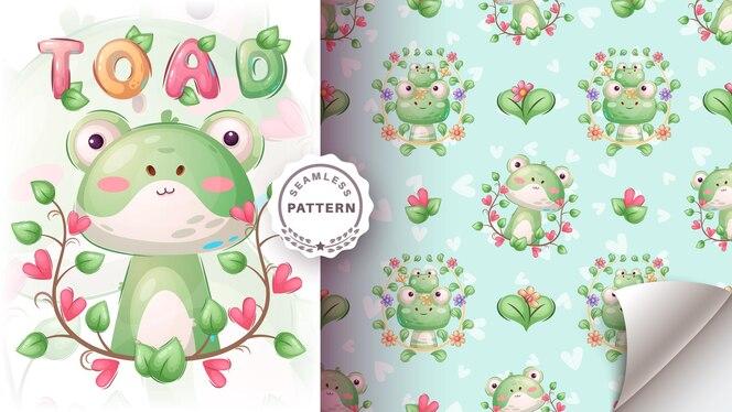 漫画のキャラクターの幼稚な動物のヒキガエルのシームレスなパターン