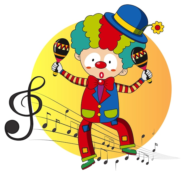 Cartoon character of a clown dances with musical melody symbols