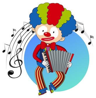 Cartoon character of a clown plays accordion with musical melody symbols