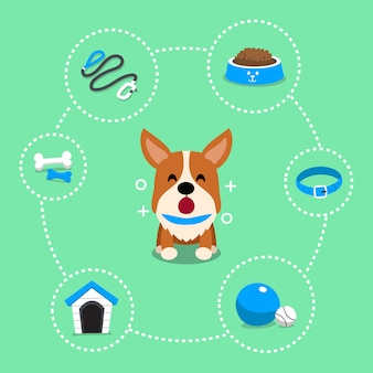 Cartoon character corgi dog and accessories
