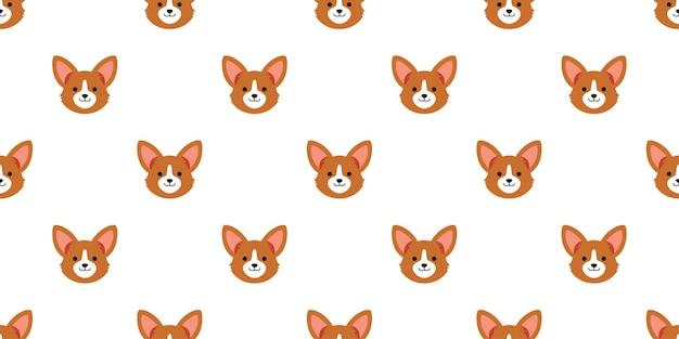 Cartoon character corgi dog face seamless pattern