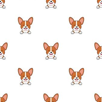 漫画文字コーギー犬のシームレスなパターン背景