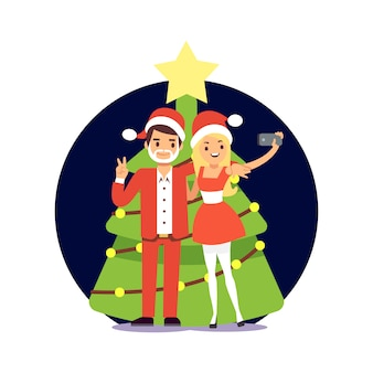 Cartoon character couple in santa clothers taking selfie. christmas party illustration