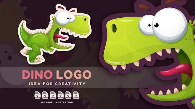 Cartoon character crazy animal dinosaur  kids sticker vector eps 1