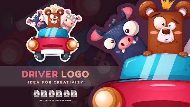 Cartoon character crazy drive friends  childish sticker