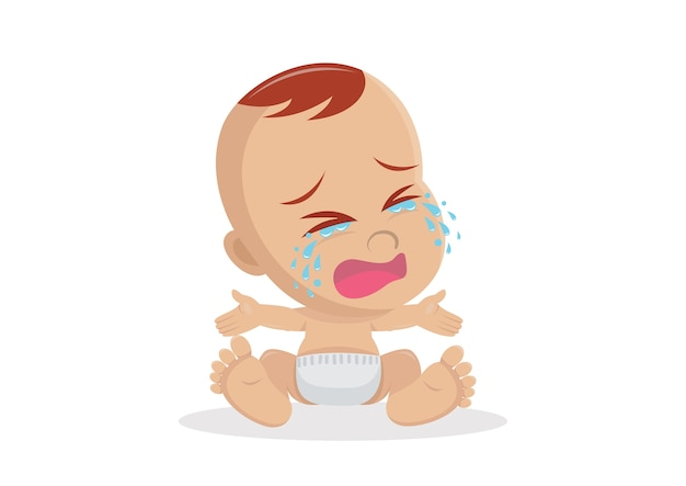 Cartoon character, crying baby boy