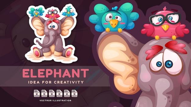 漫画のキャラクターかわいい動物の友達面白いステッカーベクトルeps10