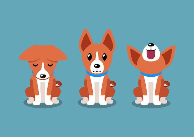 Персонаж мультфильма милые позы собаки басенджи