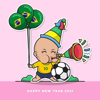 Cartoon character of cute brazilian baby blow the new year's trumpet and carry the national flag balloon