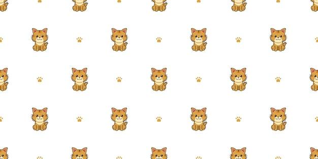 Мультипликационный персонаж милый коричневый кот бесшовный фон фон